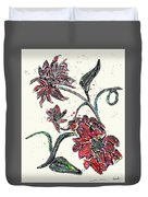 Crayon Flowers Duvet Cover
