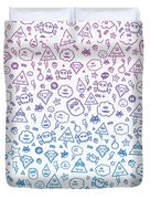 Crazy And Cute Monster Patter In Blue Pink Duvet Cover