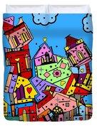 Crazy Building Popart By Nico Bielow Duvet Cover