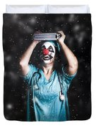 Crazy Doctor Clown Laughing In Rain Duvet Cover