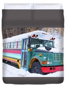 Crazy Painted Old School Bus In The Snow Duvet Cover