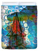 Crazy Red House In The Clouds Whimsy Duvet Cover