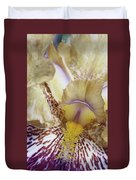 Cream And Purple Iris Duvet Cover