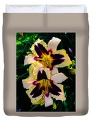 Cream And Purple Lilies Duvet Cover