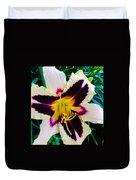 Cream And Purple Lily Macro Duvet Cover