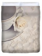 Cream Rose On White China Cup Duvet Cover