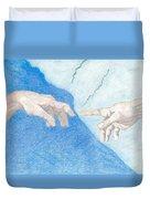 The Creation Hands Sistine Chapel Michelangelo Duvet Cover