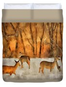 Creatures Of A Winter Sunset Duvet Cover