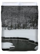 Creek In Snowy Landscape Duvet Cover