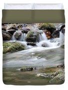 Creek With Rocks Spring Scene Duvet Cover
