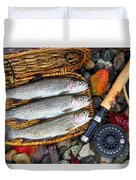 Creel With Native Trout  Duvet Cover