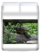 Creeping Komodo Monitor Climbing Under A Fallen Log Duvet Cover
