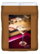 Creme Caramel Martini Cocktail In Bar Duvet Cover
