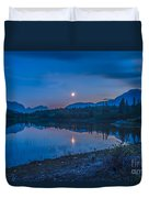 Crescent Moon Over Middle Lake In Bow Duvet Cover