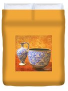 Crete Blue And Gold Jug And Bowl Duvet Cover