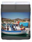 Crete Fishing Boats Duvet Cover