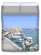 Crete Island Harbour  Duvet Cover