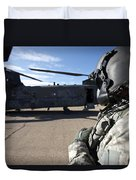 Crew Chief Of A Ch-47 Chinook Stands Duvet Cover