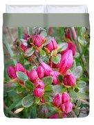 Crimson Azalea Buds Duvet Cover