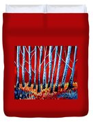Crimson Birch Trees Duvet Cover
