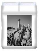 Crisp Point Lighthouse With Driftwood Duvet Cover