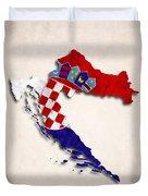 Croatia Map Art With Flag Design Duvet Cover