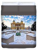 Croatian National Theater In Zagreb Winter View Duvet Cover