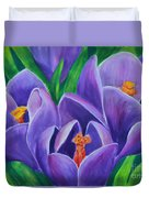 Crocus Flowers Duvet Cover