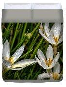 Crocus White Flowers Duvet Cover