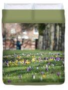 Crocuses At Hampton Court London Uk Duvet Cover