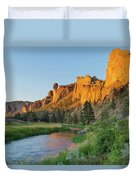 Crooked River And Monkey Face At Smith Rock Duvet Cover