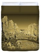 Crooked River At Smith Rock State Park Sepia Duvet Cover
