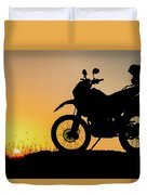 Cross-country Motorbike And Stony, Traveling In Tough Roads Duvet Cover