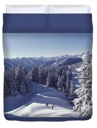 Cross-country Skiing In Aspen, Colorado Duvet Cover