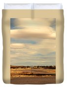 Cross Road In New Mexico Duvet Cover