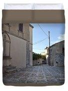 Cross Road In Sicily Duvet Cover