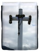 Cross With Flower Wreaths Duvet Cover