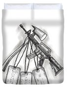Crossed Fire Ax And M4 Rifle Dog Tags Tattoo Duvet Cover