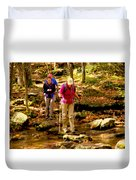 People Series - Crossing The Stream Duvet Cover