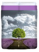 Crossroad In Lavender Meadow Duvet Cover