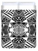 Crossroads To Ornamental - Abstract Black And White Graphic Drawing Duvet Cover