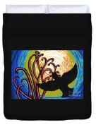 Crow And Full Moon In Winter Duvet Cover