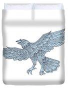 Crow Flying Mandala Duvet Cover