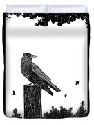 Crow On Fence Post Duvet Cover