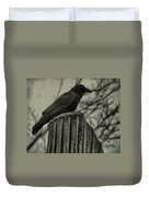 Crow Perched On A Old Column In Rain Duvet Cover