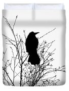 Crow Rook Perched In A Tree With Pare Branches In Winter Duvet Cover