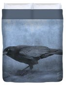 Crow Searching For Seashells Duvet Cover