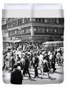 Crowded Street, Nyc, C.1960s Duvet Cover