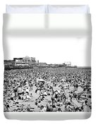Crowds At Coney Island Beach Duvet Cover