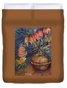 Crown Imperial Fritillaries In A Copper Vase Copy Duvet Cover